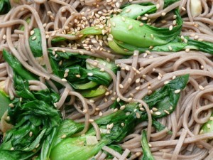 bok choy and noodles