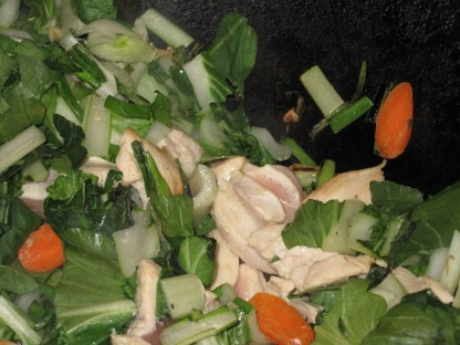 a-raw chicken pak choy soup